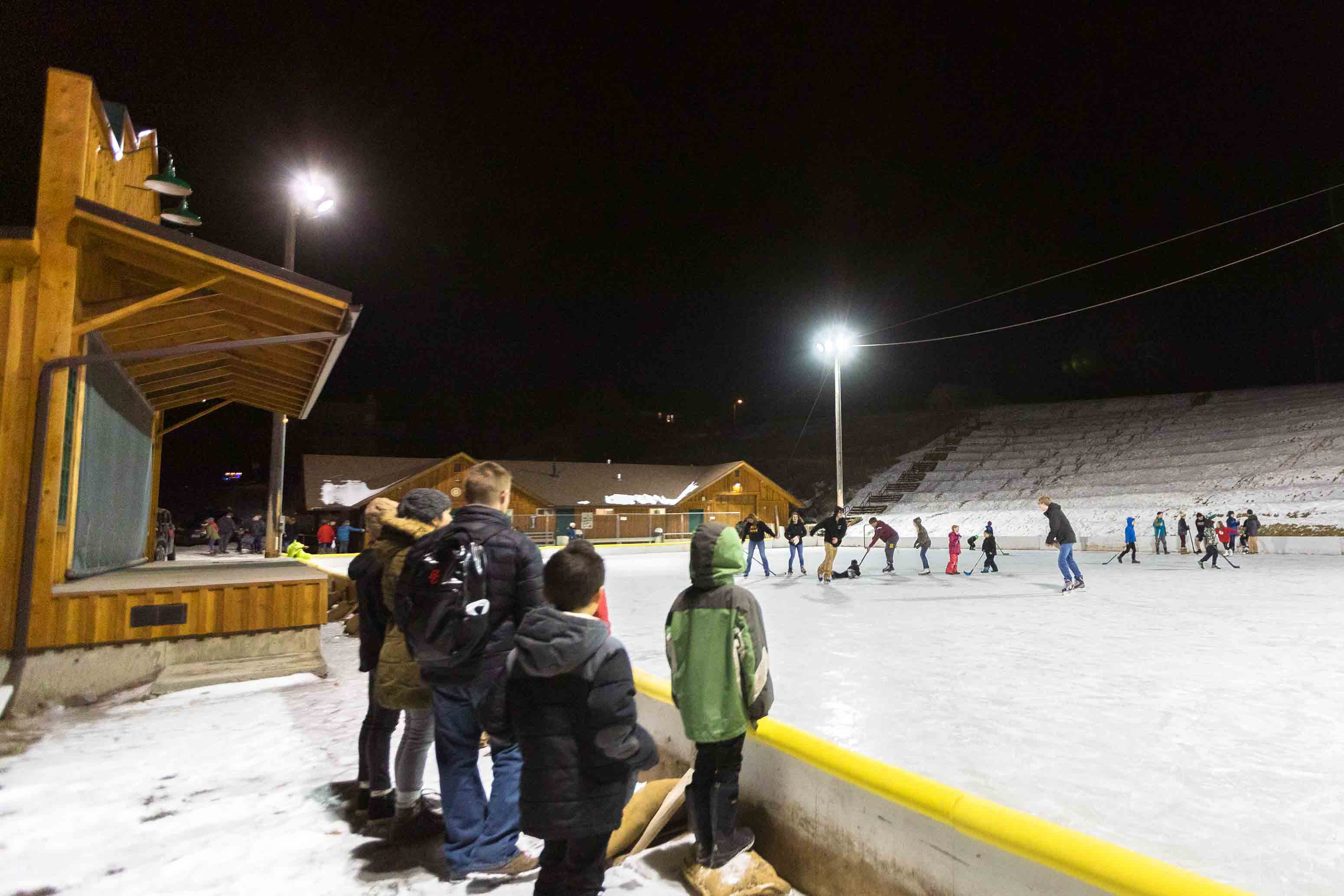 The ice rink at Winninghoff Park in Philipsburg, Montana.