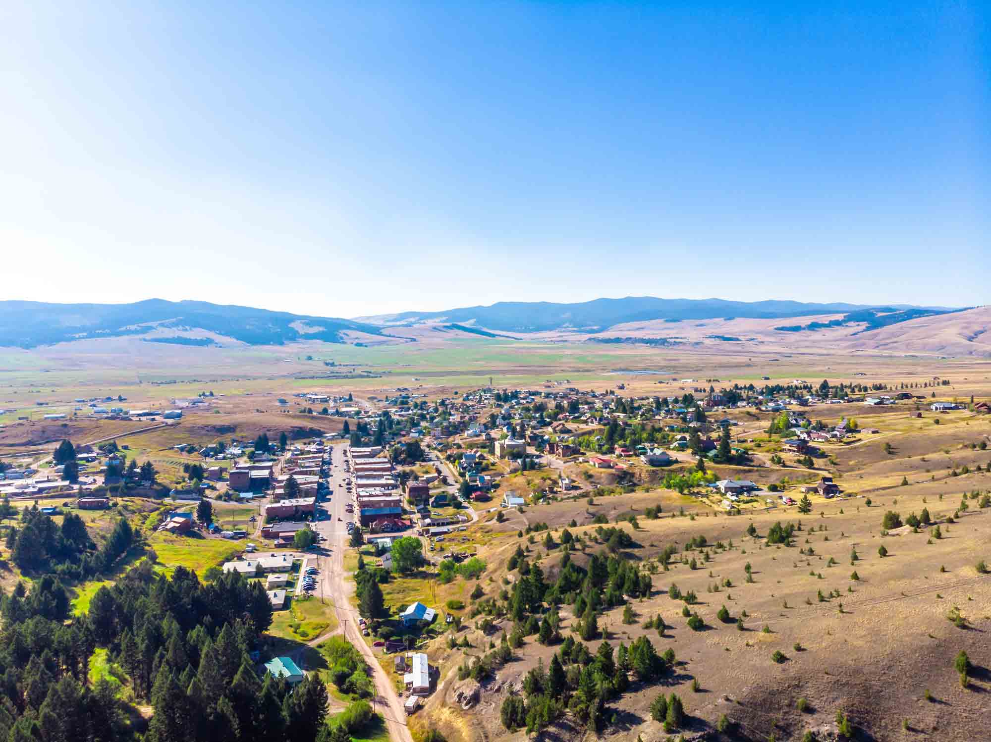 Aerial view of downtown Philipsburg, Montana.