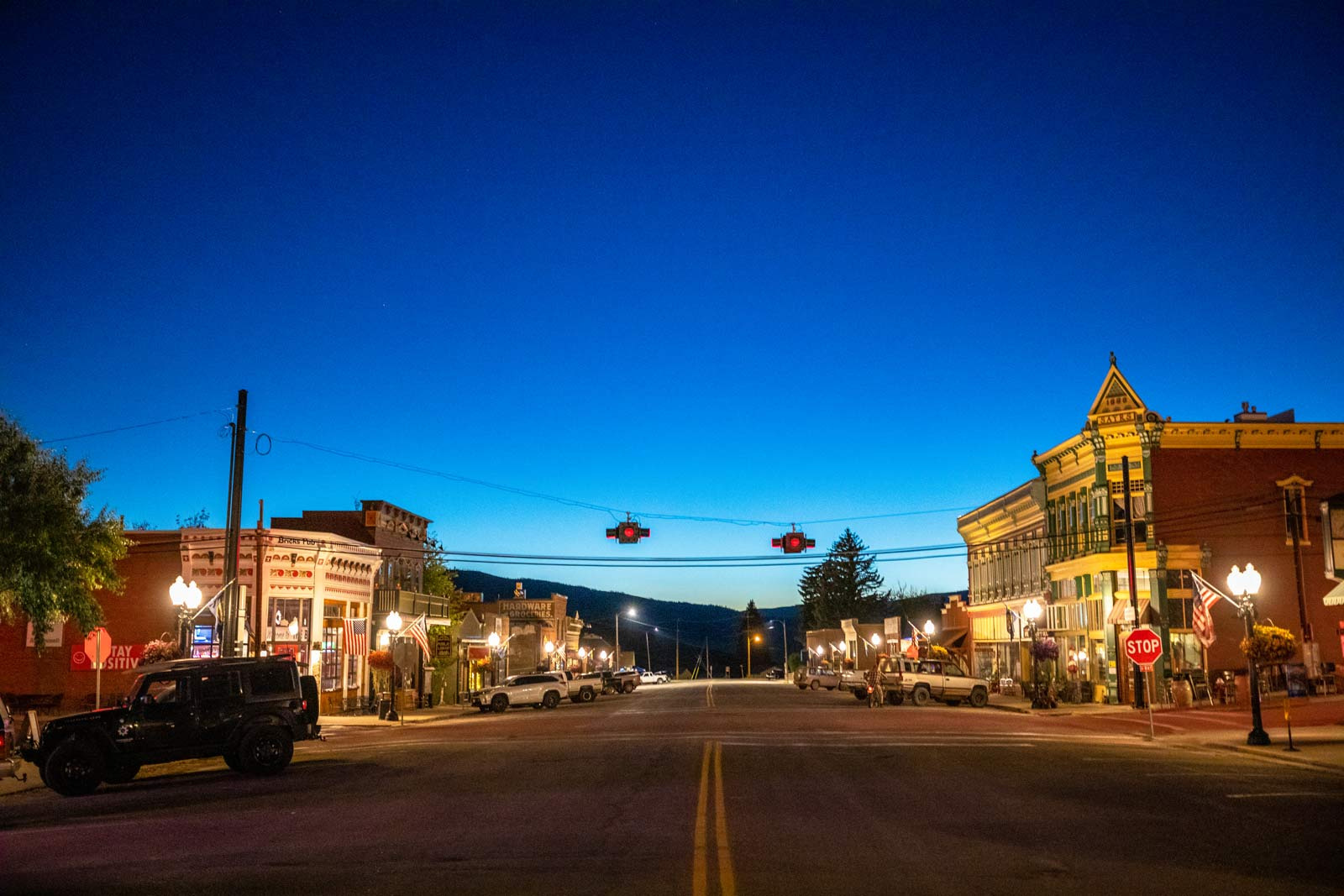 Broadway Street during a summer evening in Philipsburg, Montana.